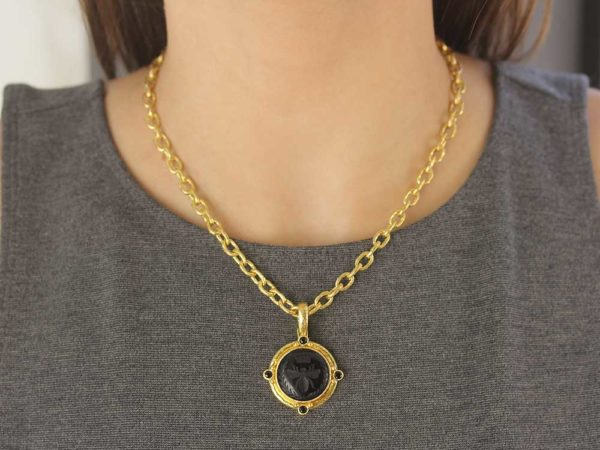 "Elizabeth Locke Onyx ""Queen Bee"" Pendant With Four Black Spinel & Gold Dots With Narrow Clip Bale"