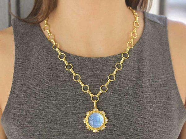 "Elizabeth Locke Cerulean Venetian Glass Intaglio ""Elephant"" Pendant with White Pearls and Gold Dots"