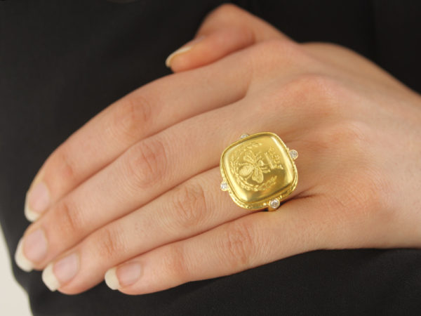 "Elizabeth Locke Gold ""Queen Bee"" Diamond Ring"