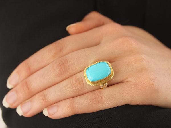 Elizabeth Locke Cushion Cut Cabochon Turquoise Ring with Diamond Triads