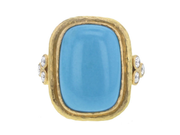 Elizabeth Locke Cushion Cut Cabochon Turquoise Ring with Diamond Triads thumbnail