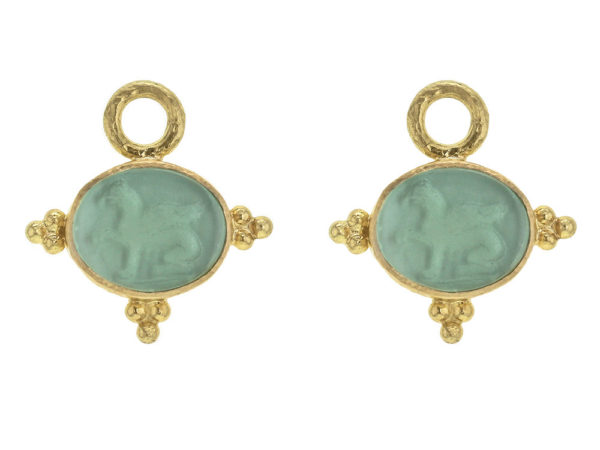 Elizabeth Locke Nile Venetian Glass Intaglio 'Grifo' With Three Gold Triads on Thin Bezel Earring Charms thumbnail