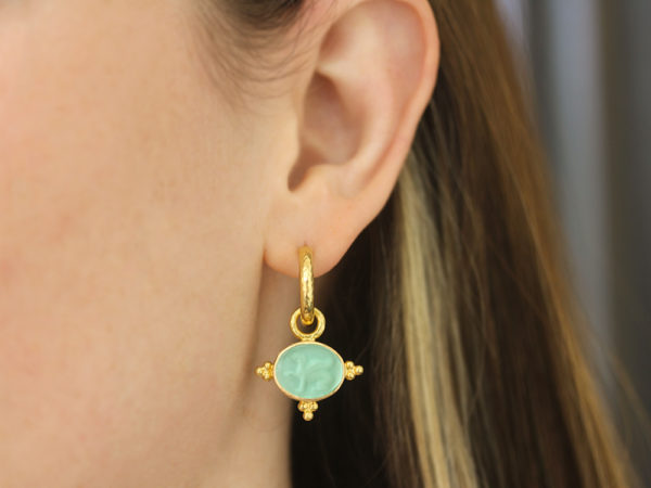 "Elizabeth Locke Nile Venetian Glass Intaglio ""Grifo"" Earring Charms With Three Gold Triads on Thin Bezel model shot #1"