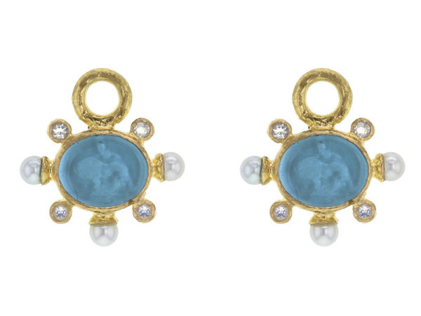 "Elizabeth Locke Swimming Pool Venetian Glass Intaglio ""Tiny Lion"" Earring Charms With Pearls and Faceted Moonstone thumbnail"