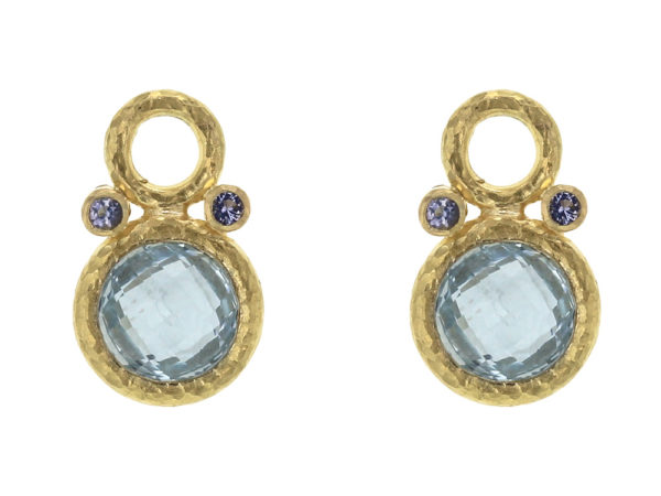 Elizabeth Locke Faceted Aquamarine Earring Charms With Iolites thumbnail