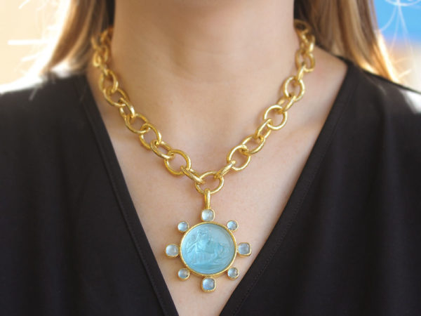 "Elizabeth Locke Light Aqua Venetian Glass Intaglio ""Ancient Horse"" Pendant with Cabochon Aquamarines"