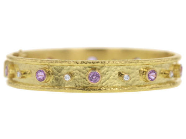 Elizabeth Locke Faceted Pink Sapphire and Diamond Bangle Bracelet thumbnail