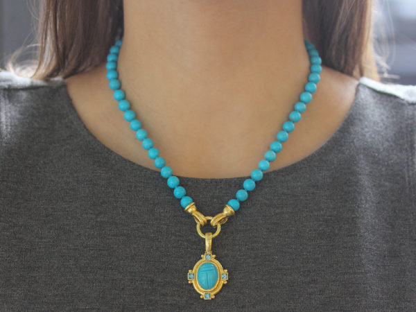 "Elizabeth Locke 17"" ""Silvana"" Clasp Necklace With 7mm Turquoise Beads"