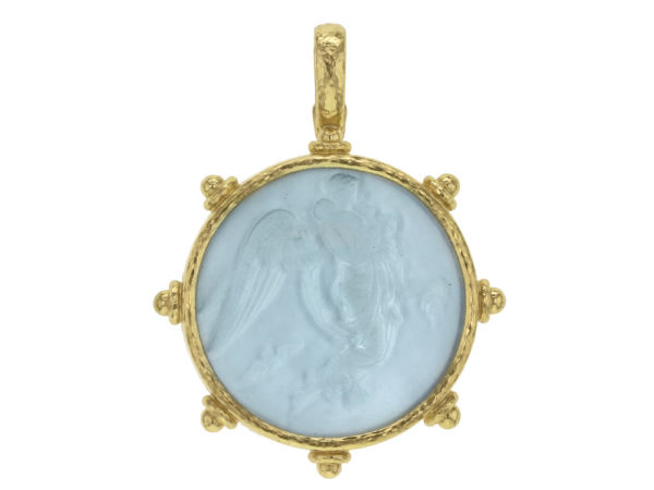 "Elizabeth Locke Light Aqua Venetian Glass Intaglio ""Angel With Child"" Pendant thumbnail"