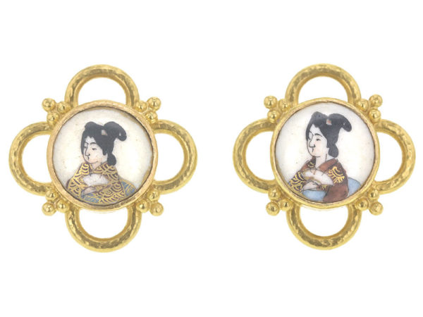 "Elizabeth Locke Antique Satsuma Porcelain ""Geisha"" Button Earrings with Gold Wire Arches and Triads thumbnail"
