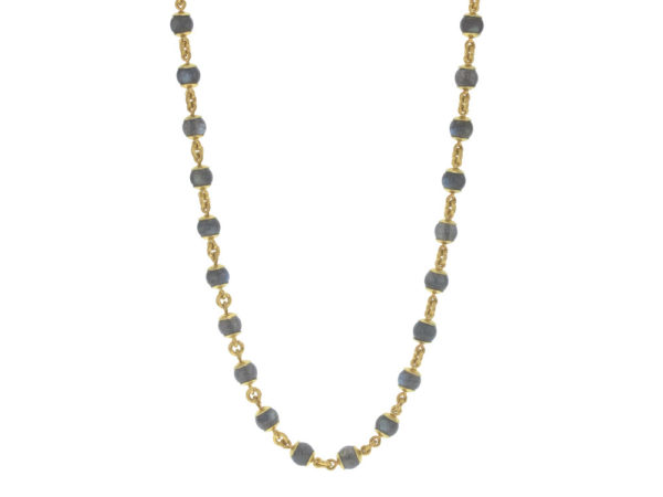"Elizabeth Locke 31"" Circle Clasp Necklace With 8mm Labradorite Beads and Gold Links model shot #4"