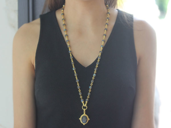 "Elizabeth Locke 31"" Circle Clasp Necklace With 8mm Labradorite Beads and Gold Links model shot #1"