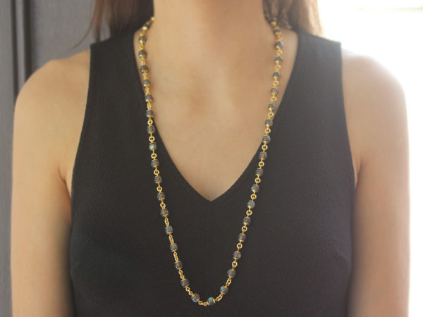 "Elizabeth Locke 31"" Circle Clasp Necklace With 8mm Labradorite Beads and Gold Links model shot #2"