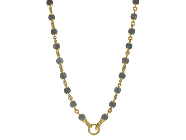 "Elizabeth Locke 31"" Circle Clasp Necklace With 8mm Labradorite Beads and Gold Links thumbnail"