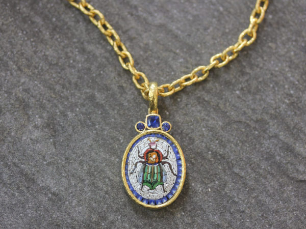 "Elizabeth Locke Vertical Oval 19th Century Micromosaic ""Scarab"" Pendant With Blue Sapphires model shot #2"