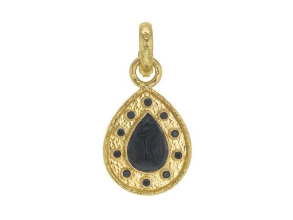 "Elizabeth Locke Black Venetian Glass Intaglio ""Small Pear Shape"" Pendant With Black Spinel Round Stones thumbnail"