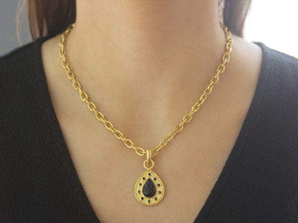 "Elizabeth Locke Black Venetian Glass Intaglio ""Small Pear Shape"" Pendant With Black Spinel Round Stones"