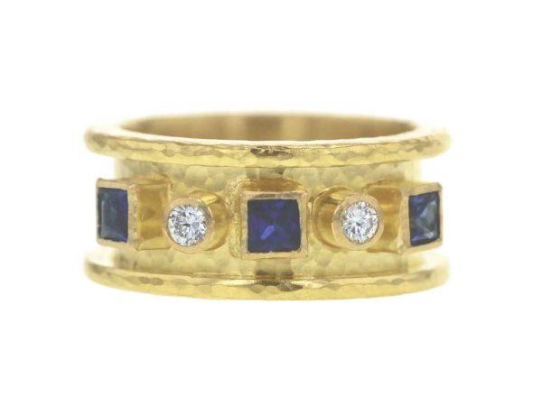 Elizabeth Locke Princess-Cut Blue Sapphire And Round Diamond Straight Cigar Band Ring thumbnail