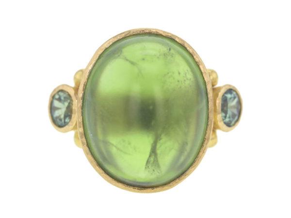 Elizabeth Locke Oval Cabochon Peridot Ring with Side Demantoid Garnets thumbnail