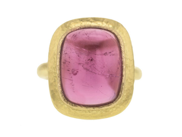 Elizabeth Locke Cushion Cut Cabochon Pink Tourmaline Ring with Flat Step Bezel thumbnail