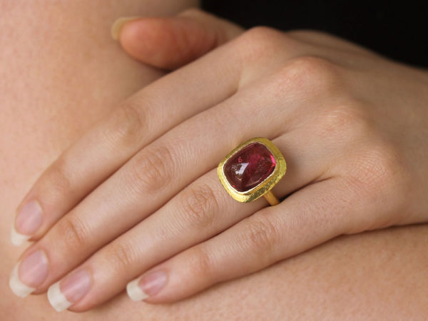 Elizabeth Locke Cushion Cut Cabochon Pink Tourmaline Ring with Flat Step Bezel model shot #2