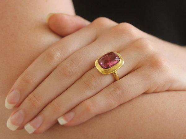 Elizabeth Locke Cushion Cut Cabochon Pink Tourmaline Ring with Flat Step Bezel