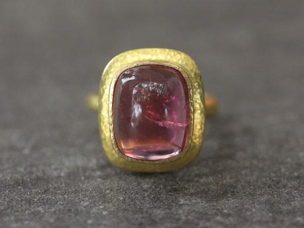Elizabeth Locke Cushion Cut Cabochon Pink Tourmaline Ring with Flat Step Bezel model shot #4