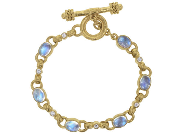 "Elizabeth Locke Oval Cabochon Moonstone and Diamond ""Celtic"" Link Bracelet thumbnail"