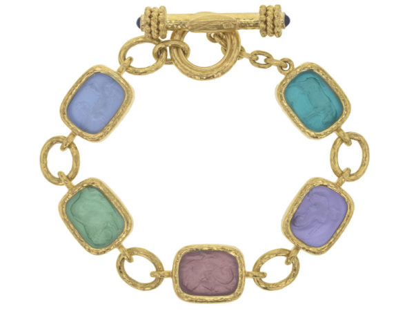 "Elizabeth Locke Bright Pastel Venetian Glass Intaglio Antique ""Animals"" Link Bracelet With Toggle Clasp thumbnail"