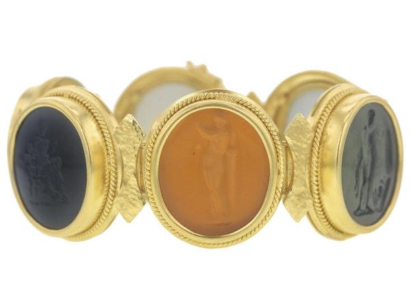 Elizabeth Locke Large Oval Venetian Glass Intaglio Neutral Colored Bracelet thumbnail