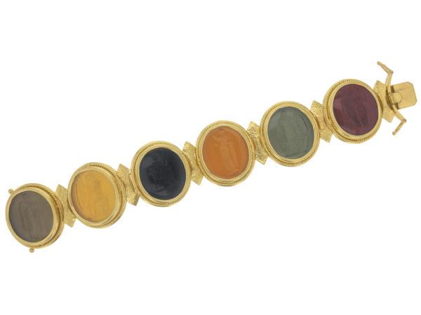 Elizabeth Locke Large Oval Venetian Glass Intaglio Neutral Colored Bracelet model shot #4