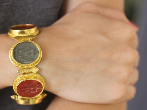 Elizabeth Locke Large Oval Venetian Glass Intaglio Neutral Colored Bracelet