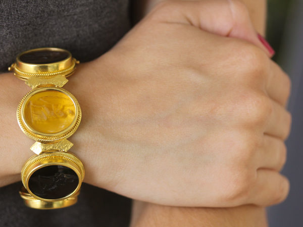 Elizabeth Locke Large Oval Venetian Glass Intaglio Neutral Colored Bracelet model shot #3