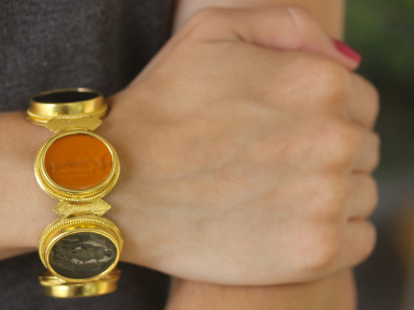 Elizabeth Locke Large Oval Venetian Glass Intaglio Neutral Colored Bracelet model shot #2