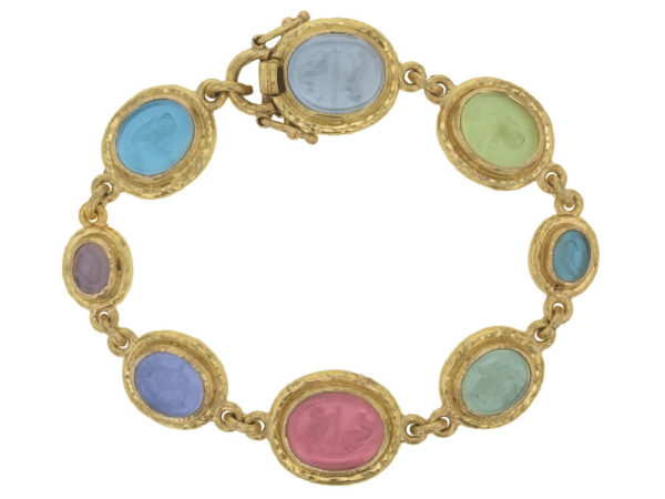 "Elizabeth Locke Pastel Venetian Glass Intaglio ""Dolphin"", ""Micro Horse"", ""Tiny Lion"", & ""Eagle & Dolphin"" Link Bracelet thumbnail"