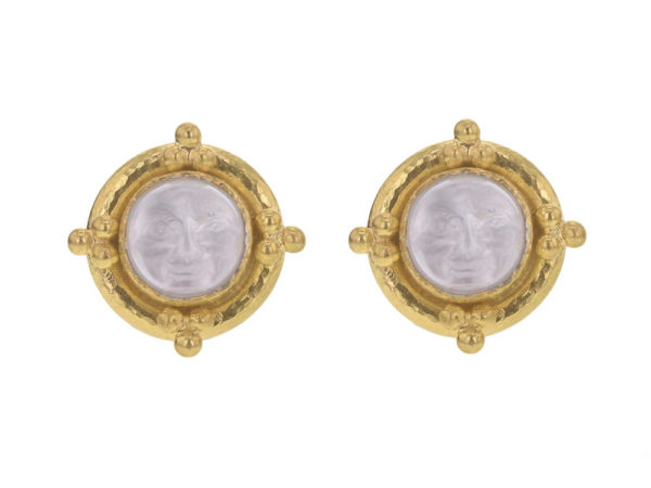 "Elizabeth Locke Crystal Venetian Glass Intaglio ""Man-in-the-Moon"" Studs With Four Gold Triads thumbnail"