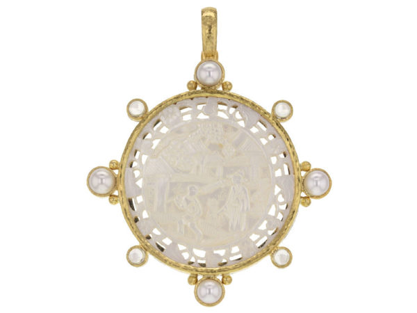 Elizabeth Locke 18th Century Fretted Chinese Gambling Counter Pendant with Pearls and Moonstone thumbnail