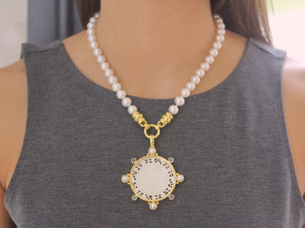 Elizabeth Locke 18th Century Fretted Chinese Gambling Counter Pendant with Pearls and Moonstone