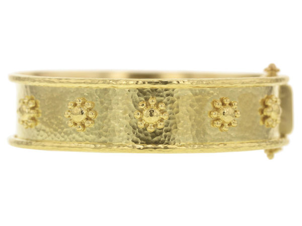 Elizabeth Locke Flat Wide Gold Daisy Bangle Bracelet thumbnail