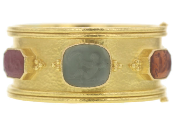 "Elizabeth Locke Venetian Glass Intaglio ""Cherub With Sail"" and ""Cherub With Sea Horse"" Bangle Bracelet model shot #3"