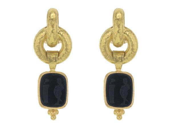 "Elizabeth Locke Black Venetian Glass Intaglio ""God and Pillar"" Cheerio Drop Earrings thumbnail"