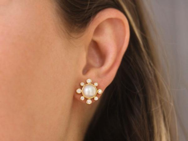 Elizabeth Locke Akoya 8mm Pearl and Diamond Stud Earrings
