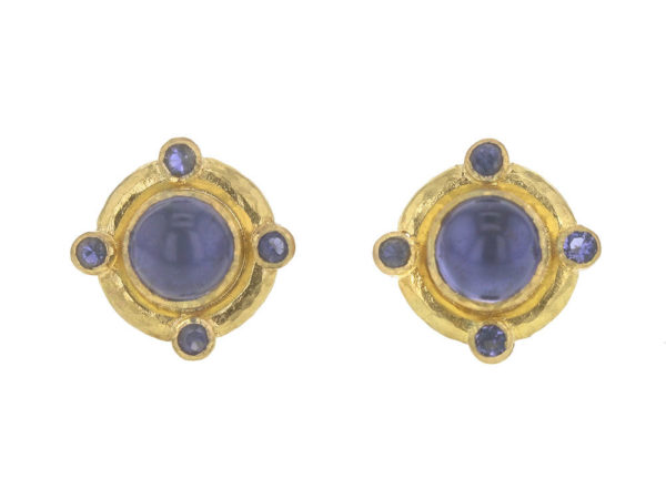 Elizabeth Locke Round Cabochon and Faceted Iolite Earrings thumbnail