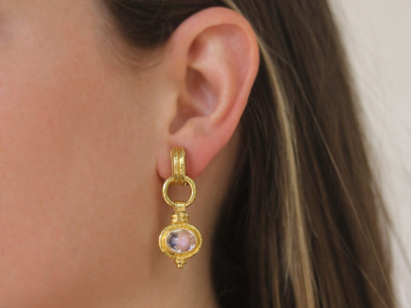 "Elizabeth Locke Double-Banded ""Cheerio"" Moonstone Drop Earrings"