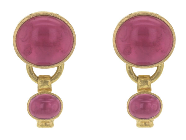 """Elizabeth Locke Pink Venetian Glass Intaglio """"Cab Goat, Lion and Putto"""" Earrings with Bottom Oval Pink Tourmaline Stone Dangle thumbnail"""