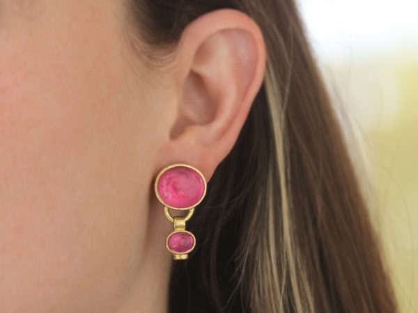 """Elizabeth Locke Pink Venetian Glass Intaglio """"Cab Goat, Lion and Putto"""" Earrings with Bottom Oval Pink Tourmaline Stone Dangle"""