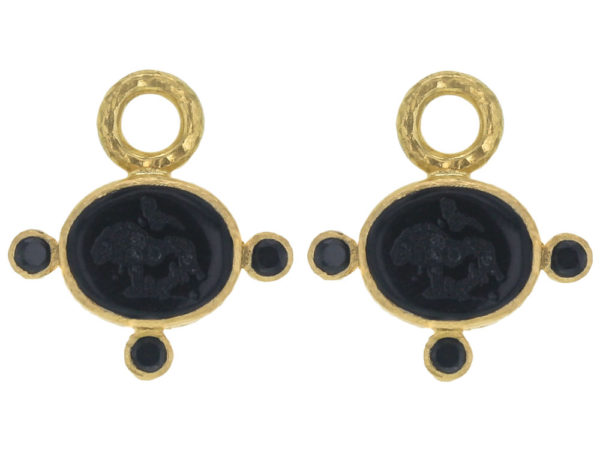 "Elizabeth Locke Black Venetian Glass Intaglio ""Tiny Lion"" Earring Charms With Faceted Spinel thumbnail"