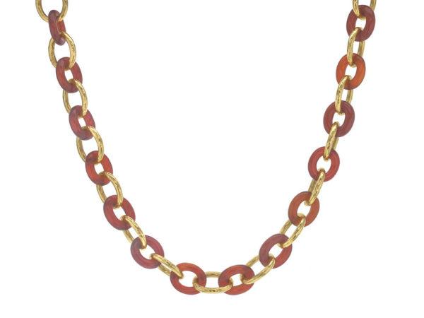 """Elizabeth Locke 17"""" Carnelian Gold Link Necklace thumbnail"""