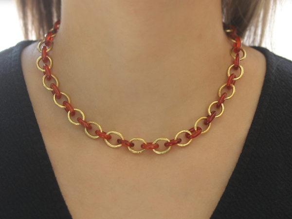 """Elizabeth Locke 17"""" Carnelian Gold Link Necklace"""