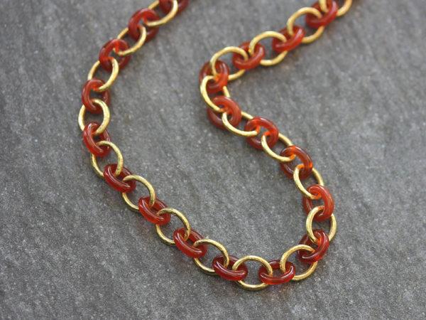 """Elizabeth Locke 17"""" Carnelian Gold Link Necklace model shot #2"""